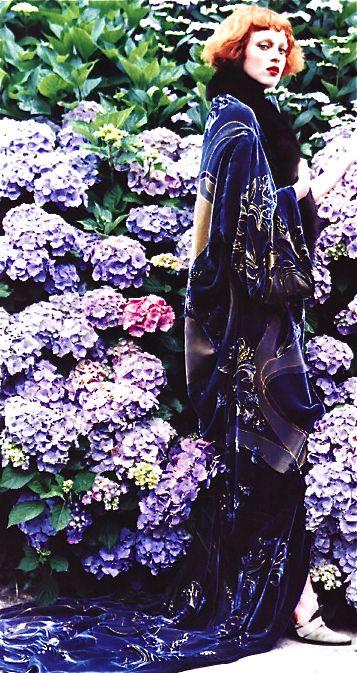 Dior amongst the hydrangeas