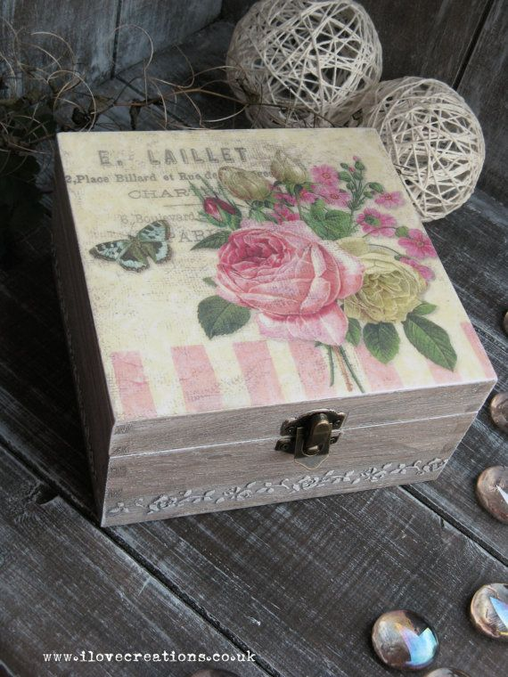French Rose Wooden Decoupage Tea Box / Cookies Box / Storage / Jewellery box