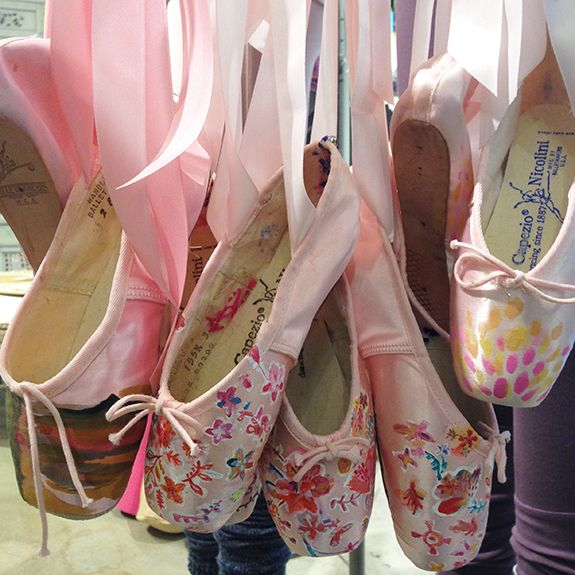 Hand painted pointe shoes from the Free People press preview. #ballet #pointe