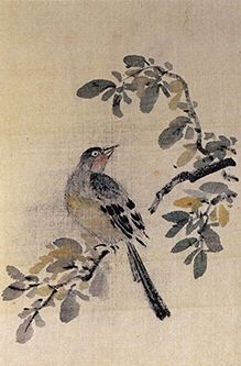 (Korea) Bird by Poam Gang Se-hwang (1713- 1791). color on paper. Korean painting.