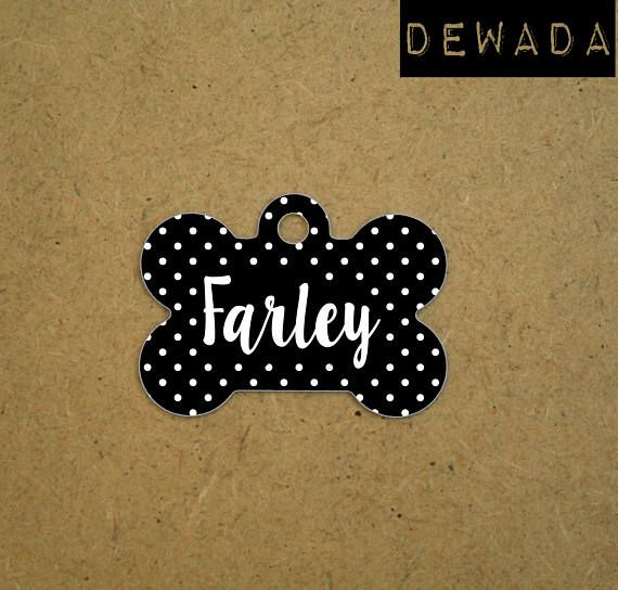 Personalized Dog ID Tag  black and white polka dots