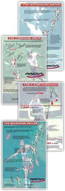 Some charts to help with a Backhand Drive,Forehand Drive Chart,X-Step Chart (Highly reccomend), Backhand Roller Chart ... From Innova discs