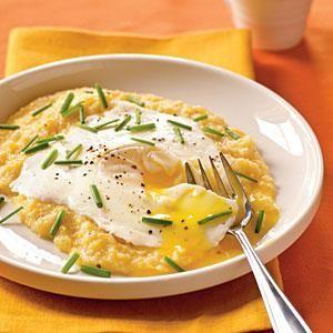 Eggs Blindfolded over Garlic Cheddar Grits | MyRecipes.com