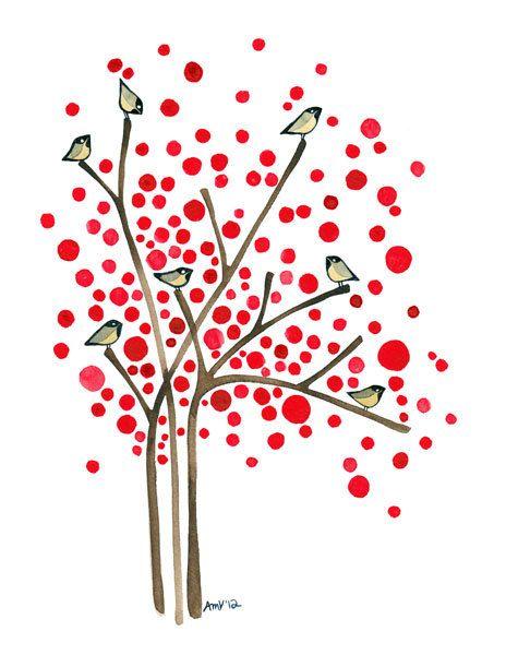 Invierno bayas árbol acuarela lámina invierno aves ilustraciones