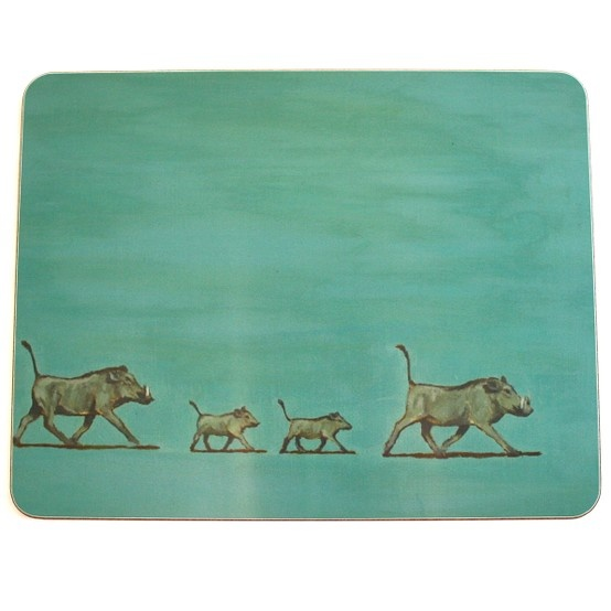 Set of six designs placemats of African animals in a gift box £60.  Heavy duty and cork backed.   harpermack.com