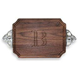 "BigWood Boards W400-STWB-B Cutting Board with Handle, Personalized Cutting Board, Small Oval Cheese Board, Walnut Wood Serving Tray with Handle, ""B"""