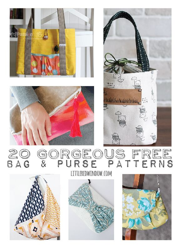 20 Gorgeous FREE Bag & Purse Patterns  | littleredwindow.com