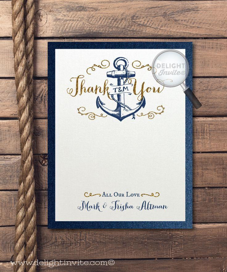 reply to wedding invitation m%0A Rustic Anchor Wedding Thank You Card  DI    TY    Custom Invitations and  Announcements