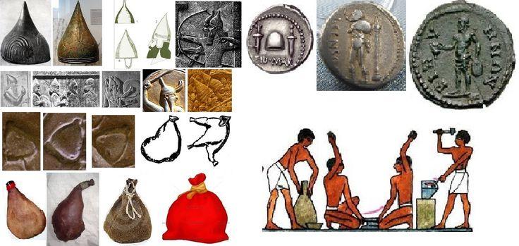 И у всех похожих шлемов конус имеет заострённую форму, а у знака на диске этот конец тупой как горловина у мешка. Кожаные мешки и бурдюки из шкур и желудков животных известны с глубокой древности, раньше чем керамические сосуды. Различные древние изображения на фресках барельефах и т.д. подтверждают похожесть знака на полный мешок (картинки по ссылке выше). В24 = Полнота воды полной = Изобилие воды изобилия.