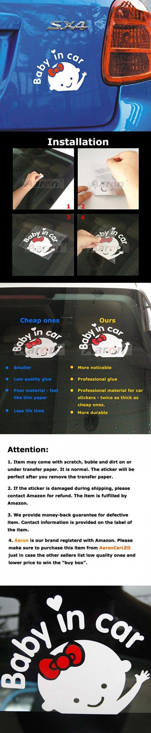 1Pc Aaron White Baby in Car (Girl) Baby Safety Sign Car Sticker, Car Decal - Sticker