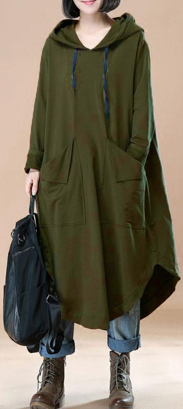 US$34.99 + Free shipping. Size: L~5XL. Color: Brown, Black, Army Green. Fall in love with casual and brief style! Casual Women Solid Color Loose Long Sleeve Hooded Dress. #dresses #sweatshirts #outfit