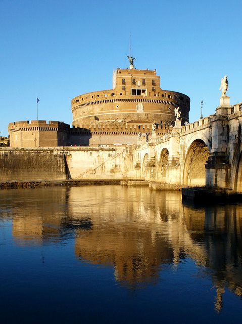 | ♕ |  Castle Sant'Angelo - Tiber River, Rome.Castles San T, Favorite Places, Angelo Rome, Tiber Rivers Rom, Europe Travel, Architecture, Castles Mansions Palaces, Castles Sante Angelo, Castles Santangelo