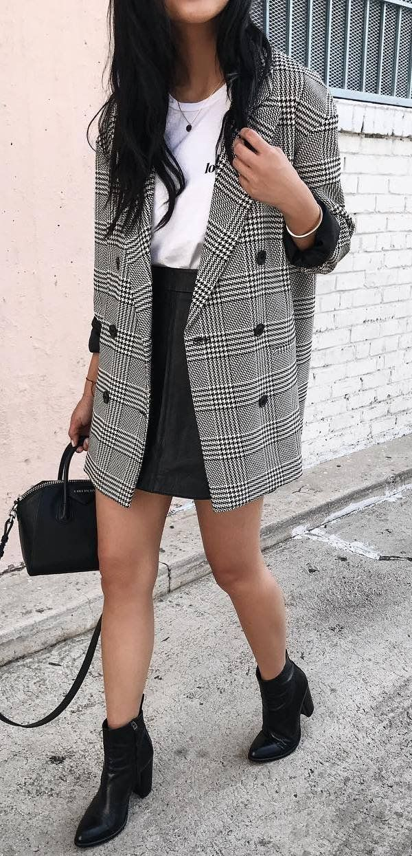 fashionable outfit / plaid blazer + white tee + black skirt + bag + boots