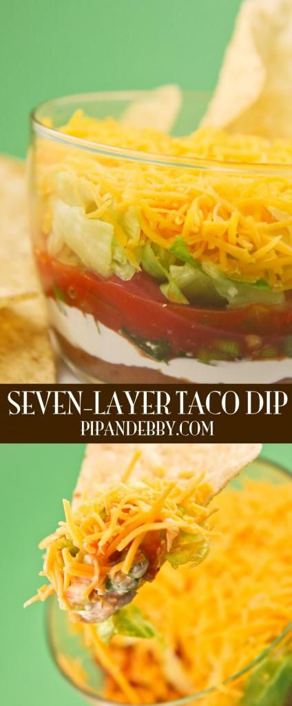 Seven-Layer Taco Dip - this is a crowd pleaser! Seven delicious layers, ready to serve your guests.