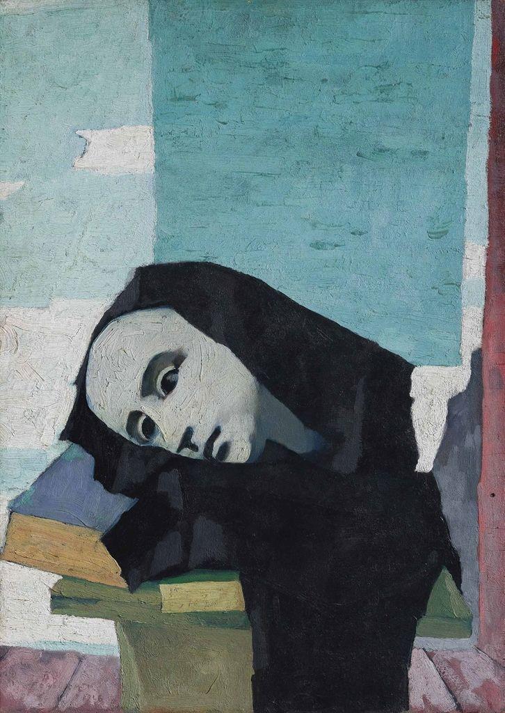 """thunderstruck9: """"Felice Casorati (Italian, 1883-1963), Natura morta con testa di gesso e libri [Still life with plaster head and books], 1945-46. Oil on panel, 59.4 x 42.3 cm. """" Questo uomo rendeva bellissime anche le nature morte - che io odio 90/100"""