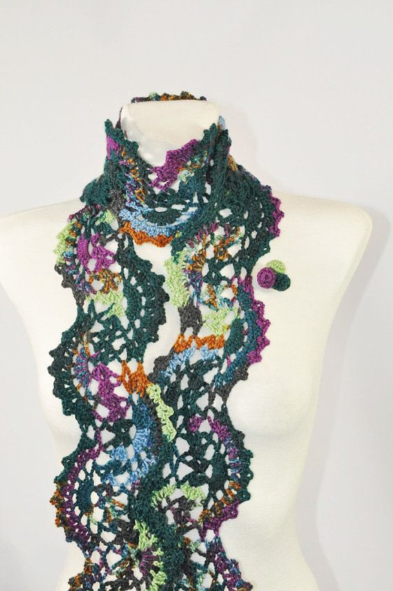 Peacock Scarf Crochet Scarf Crochet Lace Scarf Lace by aboutCRAFTS