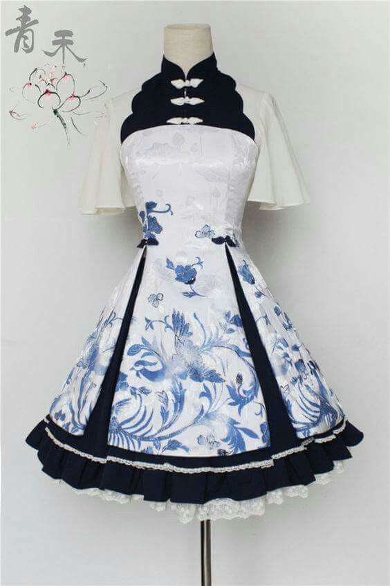 This Japanese inspired dress is so gorgeous, and I love the ruffles on the bottom. The patterns and shape resemble blue and white tea cups to me!