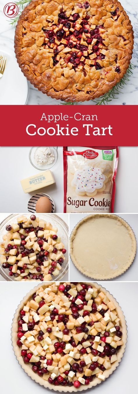 Looking for something different than the traditional Christmas cookie or fruit pie? Then this recipe is for you! It's a rustic sugar cookie tart that combines two classic winter flavors: apples and cranberries. The best part about this treat—other than being beautiful—is that it's super easy to make, thanks to some help from Betty Crocker sugar cookie mix!