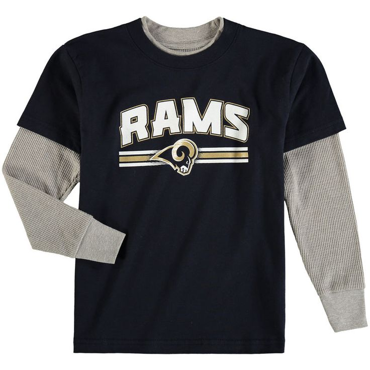 Los Angeles Rams Preschool Fan Gear Bleachers Faux Layer Long Sleeve T-Shirt - Navy