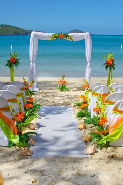 limon green anf orange wedding aisle and arch