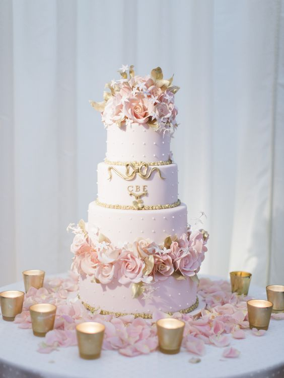 Pink and gold cake | quinceanera ideas |