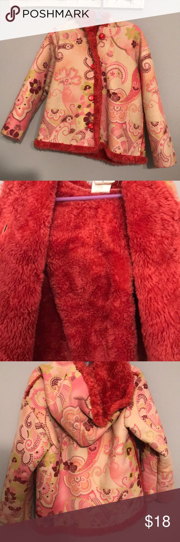 Mulberry Bush Pink Floral Shaggy Coat Mulberribush Pink Floral Shaggy Swing Coat Jacket. The inside hot pink fuzzy lining that feels so good. It has oversized dome pink buttons down the front Mulberry Jackets & Coats
