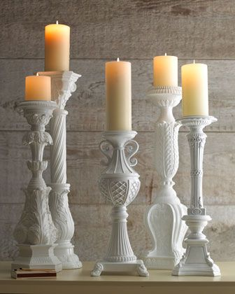 Must have... Maybe with pale rose candles? Or pale lavender?? White Candleholders at Neiman Marcus.