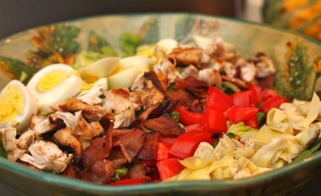 Cobb salad with basil vinaigrette #justeatrealfood #againstallgrain