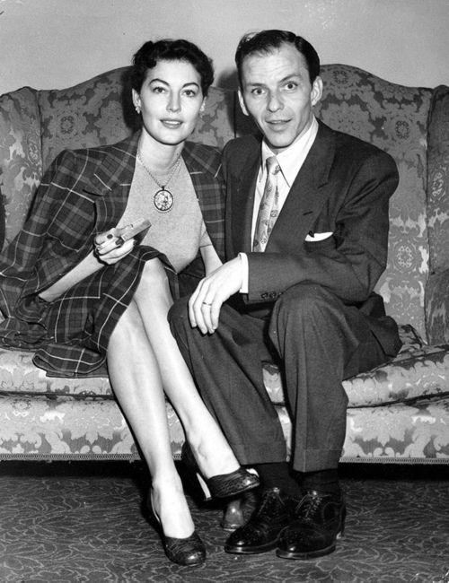 Ava Gardner and Frank Sinatra on the sofa.