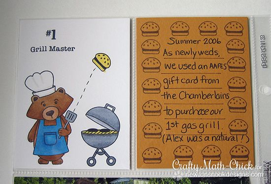Grilling Bear Scrapbook Pocket Page by Crafty Math Chick | Winston's BBQ | Newton's Nook Designs