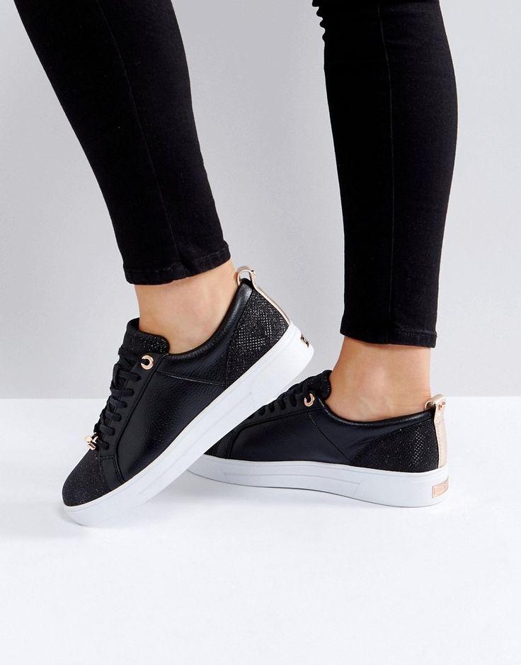 TED BAKER KULEI BLACK SPARKLING SNEAKERS - BLACK. #tedbaker #shoes #