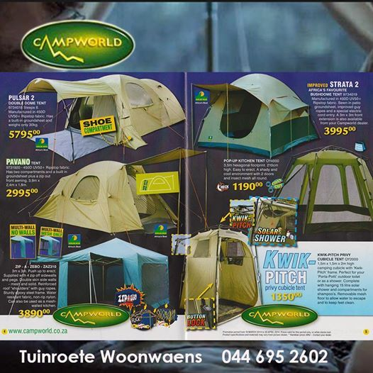With this weekend being Easter there is still time to get your camping requirements from Tuinroete Woonwaens Campword. Check out all out specials by clicking http://bit.ly/1on69Vz #campingequipment #lifestyle #outdoorliving