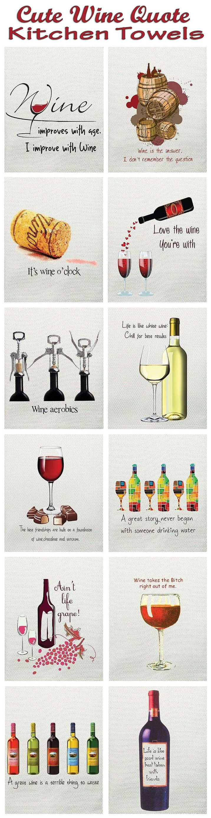 Cute Wine Quote Kitchen Towels ♥