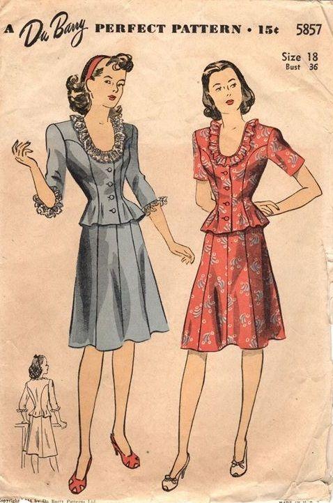 "DuBarry 5857. 1944 Two-Piece Dress. Bust 36"". Original. Complete."