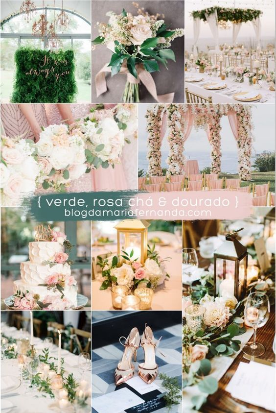 Decoração de Casamento : Paleta de Cores Verde, Rosa Chá e Dourado   Wedding Color Palette Green, Rose and Gold / Green Light Pink and Gold / Blush, Green and Gold