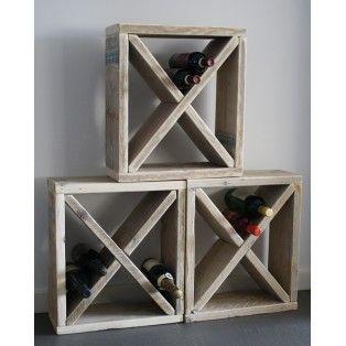 "wijnrek ""X"" steigerhout"