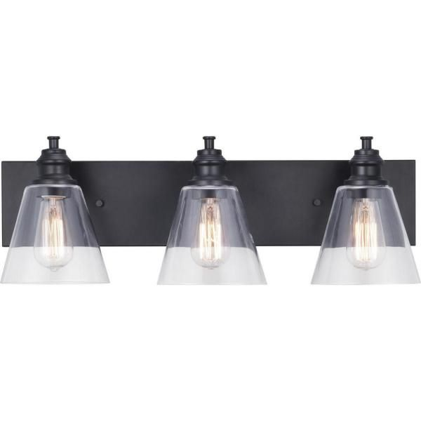Progress Lighting Elsey Manor 24 In 3 Light Matte Black Vanity Light With Clear Glass Shades P300303 031 The Home Depot Black Vanity Light Vanity Lighting Black Bathroom Light Fixtures Matte black bathroom light fixtures