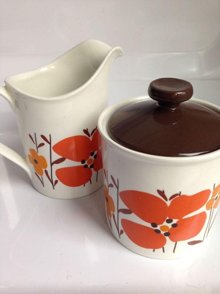 Vintage Retro Creamer + Sugar Pot,Brown/Orange/Red Flower,Johnson Bros,England
