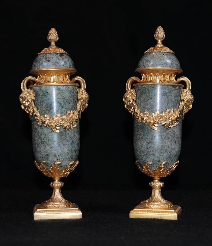 French Empire Marble Gilt Urns Ormolu Campana Urn