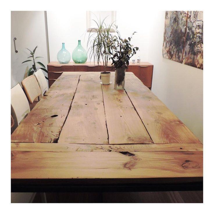 Mesa Estructura De Hierro Y Madera De Tea   The Nave   Midcentury   Wood    Woodwork   Madera   Furniture   Mobiliario   Thenave   Estilo   Industrial    Mesa ...