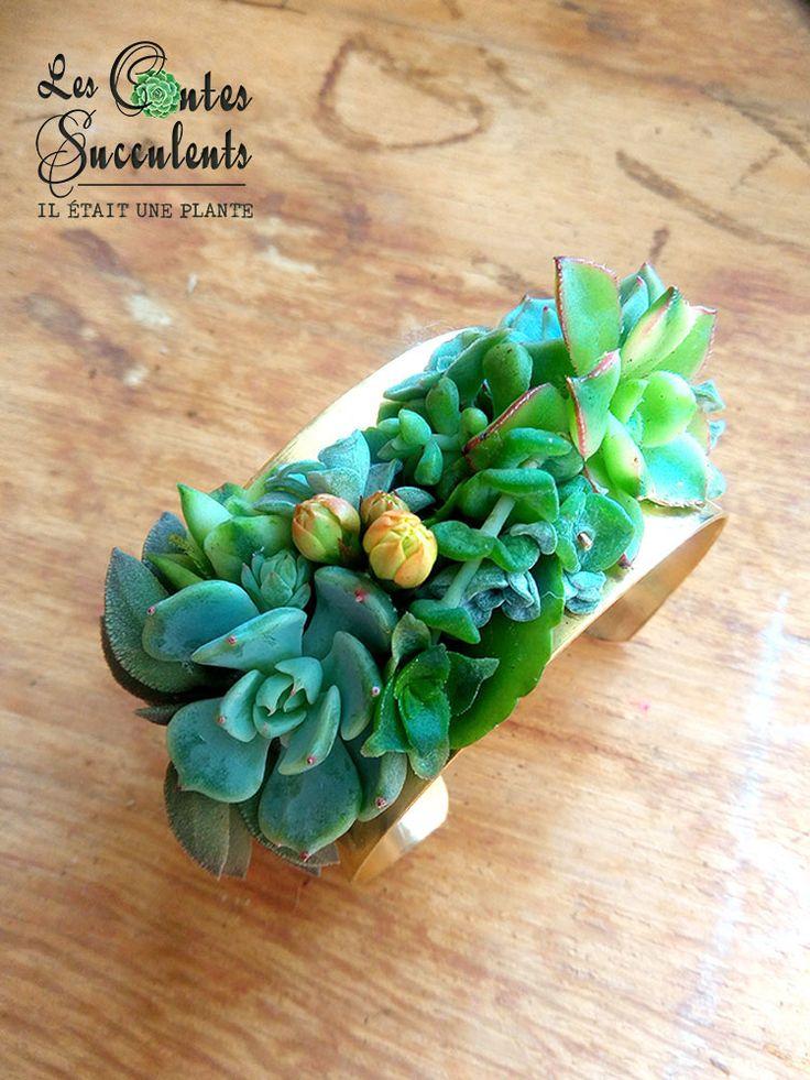 Les Bijoux Succulents - Bijou végétal bracelet laiton doré et mini plantes grasses - Parure mariage, occasion spéciale.