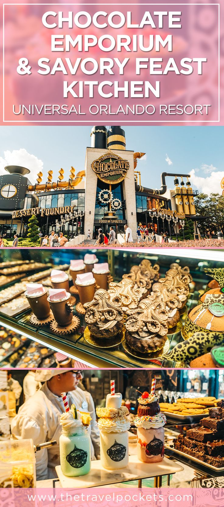 Chocolate galore in steampunk fashion at Universal Orlando, Florida, USA. #chocolates #UniversalOrlando #ChocolateEmporium #Florida #Orlando