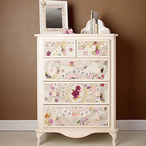 Natalia Mosaic Dresser from PoshTots,,,,have this dresser, put in my daughters room use scrapbooking paper or wrapping paper, or both
