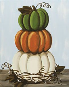 "Social Artworking Canvas Painting Design - Stacked Pumpkins This stack of rustic pumpkins makes you want to go right out to the patch to pick some real ones. The muted fall palette is popular in home decor right now but can be swapped out to match any home interior. This is a great painting to do for a harvest party.  CANVAS SIZE:  16"" x 20""  TIME TO PAINT:  approximately 3 hours"