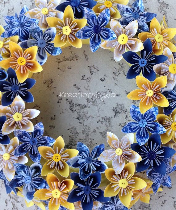 Origami Paper Flower Wreath / origami paper flowers paper