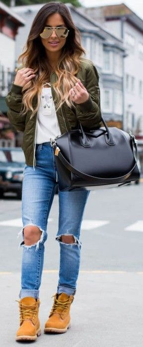 #trending #fall #outfitideas | Olive Bomber + White Top + Denim + Mustard Booties
