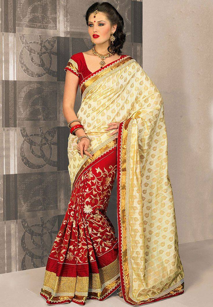 Beige and Red Art Silk Saree with Blouse: SYG126