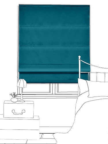 Donatella Teal roman blind - this striking blue shade is simply glorious and will succeed in giving your room a bright, fun feel... #blinds #roman #colours