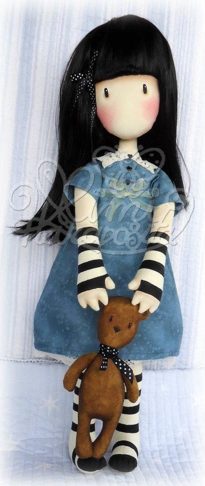 "Doll inspired by Suzanne Woolcott's illustration ""Forget me not"". (Gorjuss). Artist: Mimi Haraposita. (Spain)."