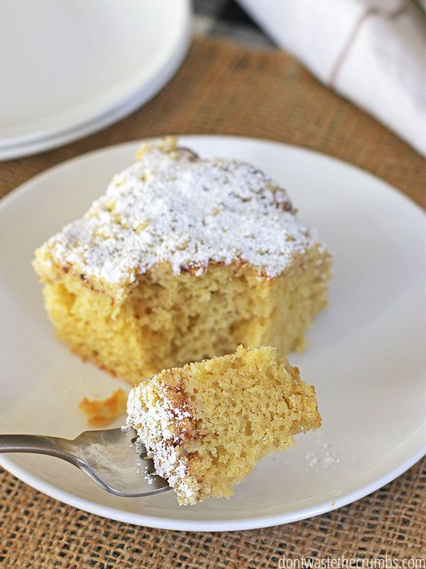 This easy recipe for Overnight Kefir Coffee Cake made with Einkorn is SO good, no one would EVER guess it was whole grain and healthy. You mix it up the night before and bake in the morning, so you don't have to mess with recipes and a messy kitchen when you first wake up. The kids devoured it and asked for more, and since it's not super sweet, I don't feel guilty making it for breakfast each week! :: DontWastetheCrumbs.com